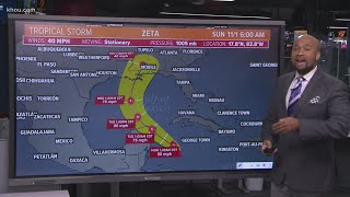 Tropical Storm Zeta: Forecast track into Gulf of Mexico and mid-week landfall