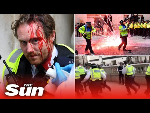 Yobs hurl fireworks and fight cops leaving one bloody as BLM London protest marred by violence