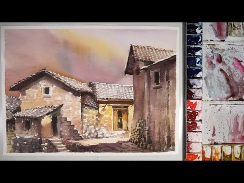 Chinese Old Village – Watercolor Landscape Painting