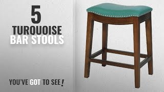 Top 10 Turquoise Bar Stools [2018]: Elmo Bonded Leather Counter Stool,Cinnamon Brown Legs,Turquoise