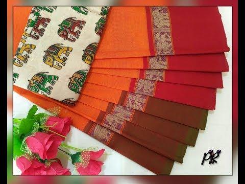 High Quality 60x80 Count Pure Handloom Chettinad Cotton Saree With Traditional Kalamkari Blouse