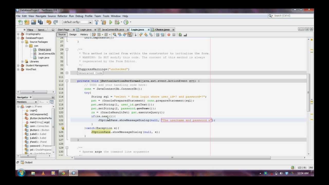 Oracl & Java Prg2 - Login program in JAVA with ORACLE database