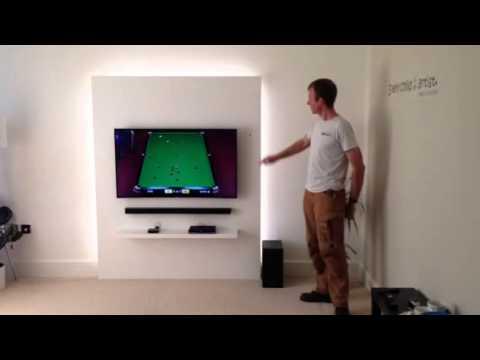 Backlit white TV wall - YouTube