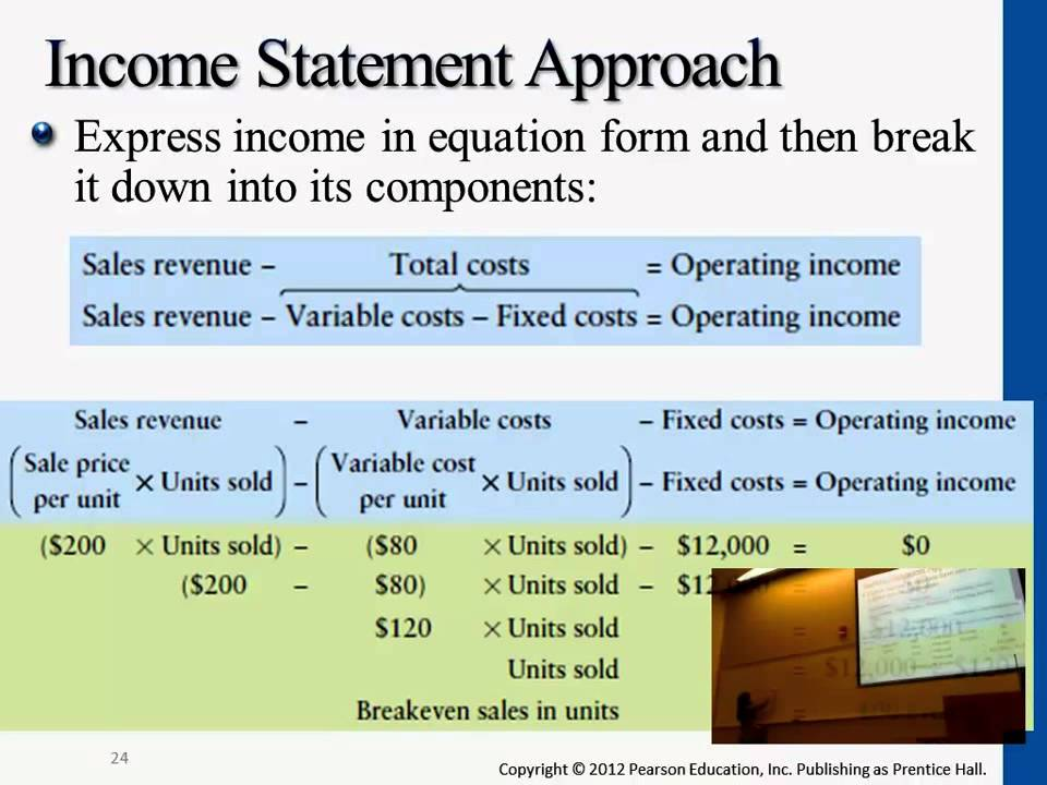 Income Statement Approach for Breakeven Point - YouTube