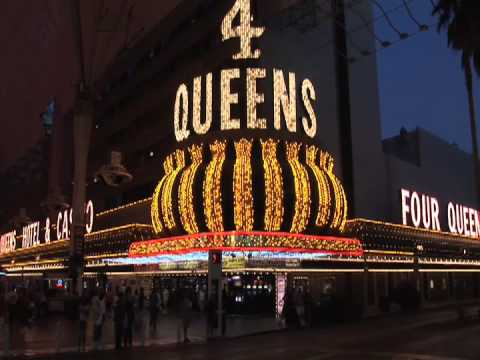 Four Queens Hotel Las Vegas And 4 Queens Casino At Night On The Fremont Street Experience FSE Nevada