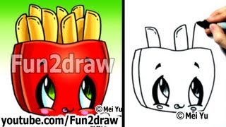 Kawaii Tutorial - How to Draw Kawaii Food - Fries (Cute Easy Drawing) - Cute Art - Fun2draw