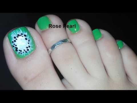 Kiwi Fruit Pedicure Nail Art Tutorial- Fruit Toe Nail Art | Rose Pearl thumbnail