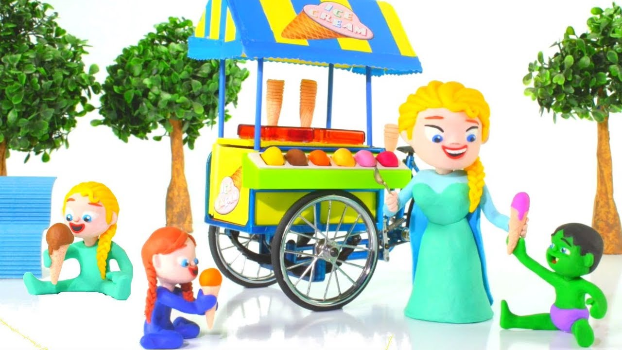 FROZEN ELSA ICE CREAM PARLOR ❤ Spiderman, Hulk & Frozen Elsa Play Doh Cartoons For Kids