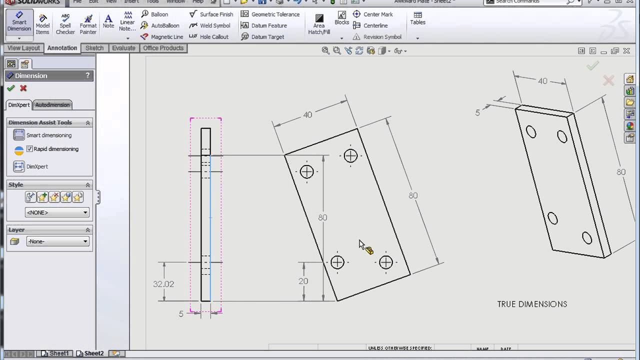 Solidworks True Vs Projected Dimensions Youtube