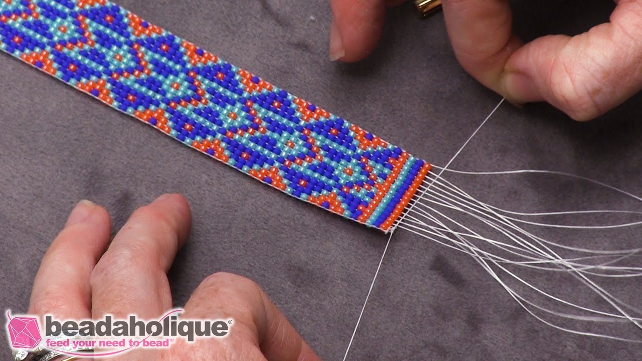 How to finish off traditional loom work and add a slider clasp youtube how to finish off traditional loom work and add a slider clasp baditri Images