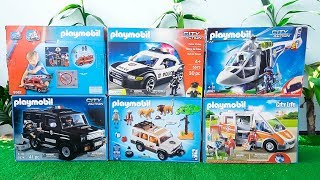 Fire Truck, Police Cars, Ambulance, Helicopter, Trucks Toys Unboxing PLAYMOBIL Vehicles for Kids