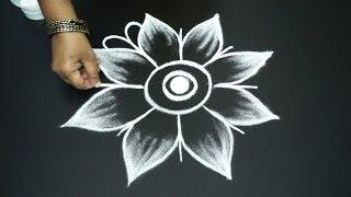 Simple and Realistic Free hand flower rangoli art designs flower kolam for beginners rangoli design