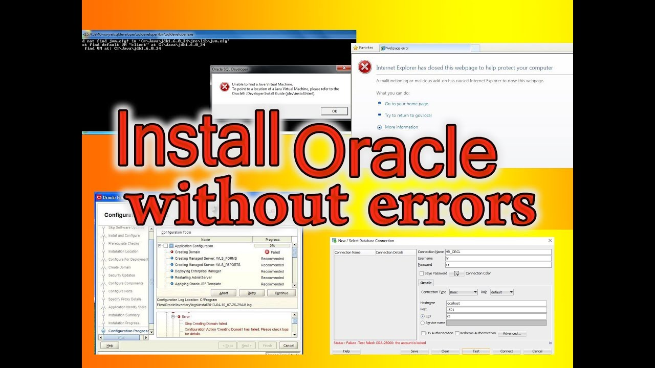 Install oracle 11g database / weblogic / forms and reports without errors