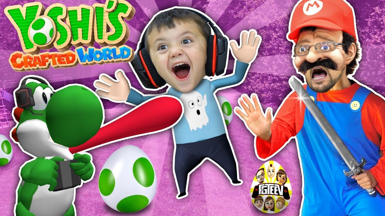 YOSHI EATS SHAWN!! Yoshi's Crafted World Plays w/ FGTEEV Mario (Skit/Gameplay)