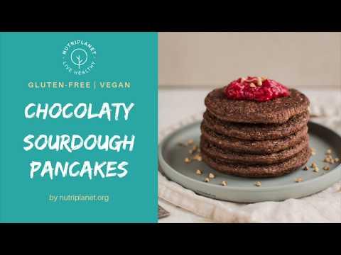 Chocolaty Vegan Sourdough Pancakes [Gluten-Free]