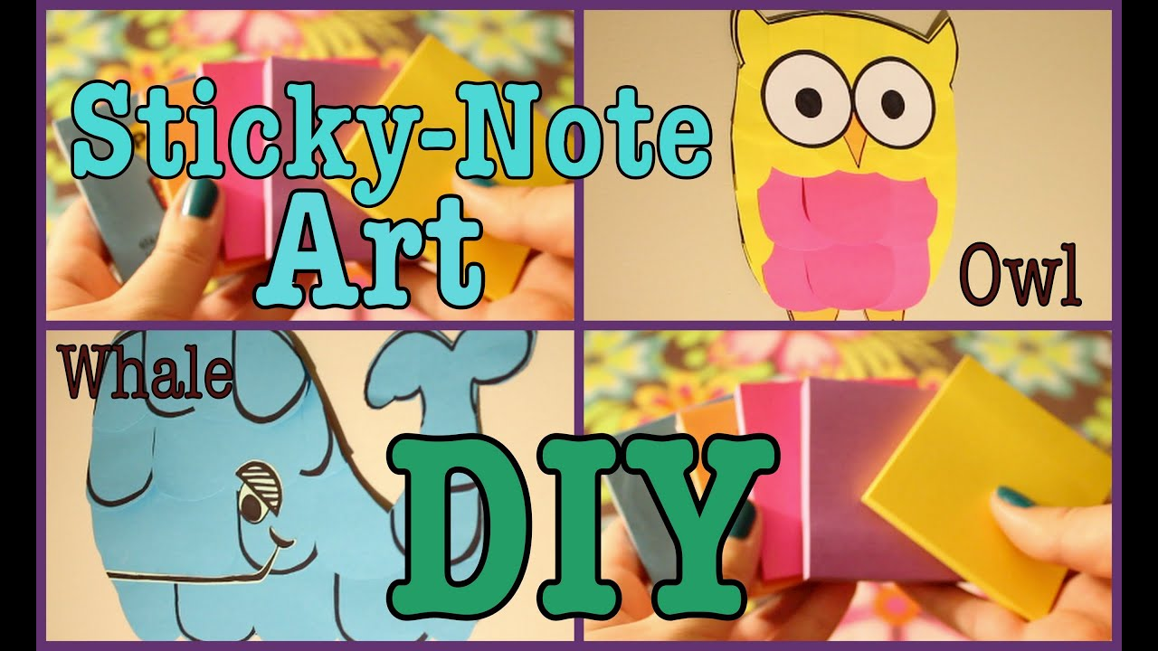 DIY: STICKY-NOTE ART || Owl/Whale - YouTube