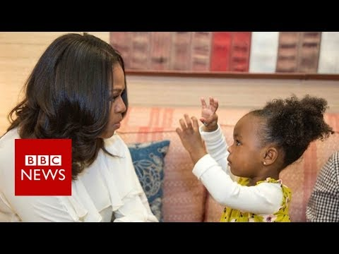 Michelle Obama dances with Parker the portrait girl - BBC News