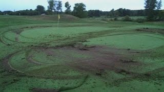 Suspect damaged golf courses because girlfriend dumped him