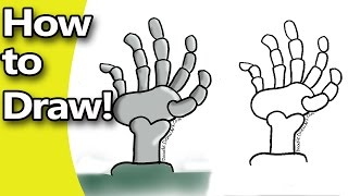 How to Draw  a Skeleton Hand Step by Step with Free Coloring Page