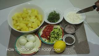 Potato & egg mayo salad recipe - very simple. http://www.howtocookgreatcurry.com http://www.howtocookgreatfood.com http://howtocookgreatfilipino.com http://w...