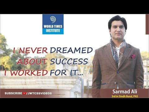 World Times Interview Series |Sarmad Ali (3rd in Sindh Rural, PAS, CSS 2017)| SE 5,Ep 2|(Full Video)