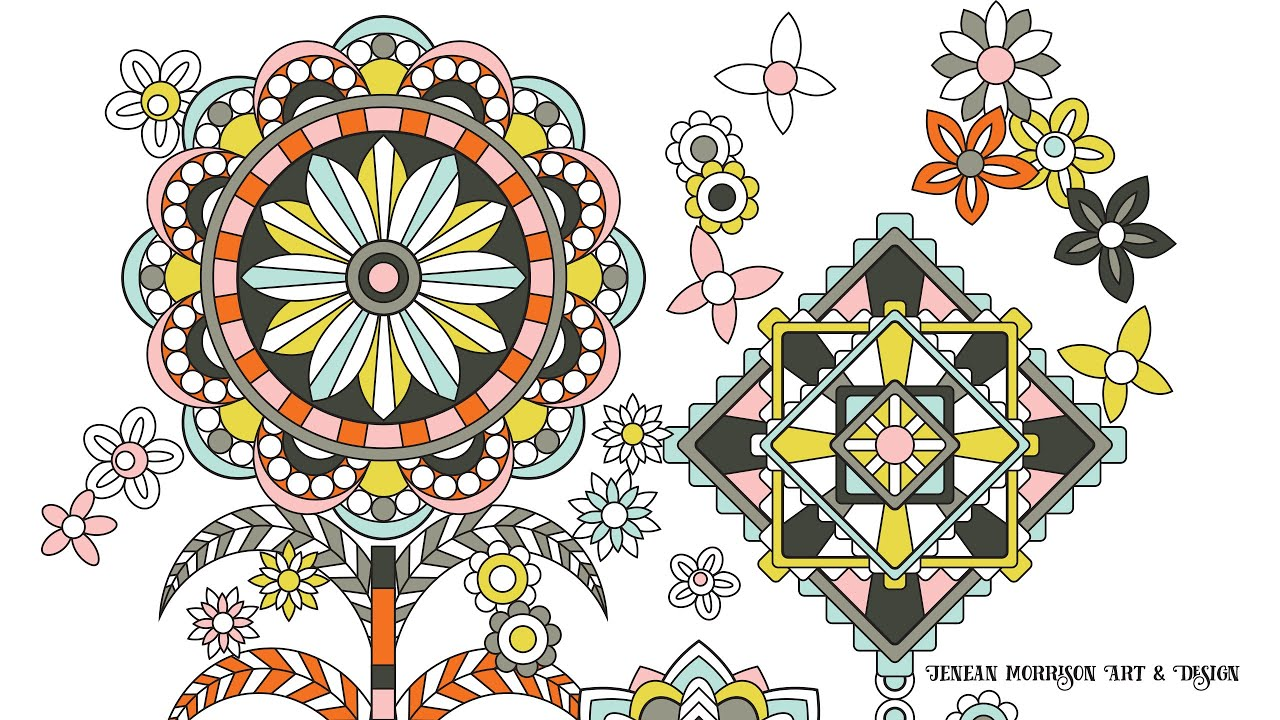 Flower designs coloring book - Flower Designs Coloring Book Animation