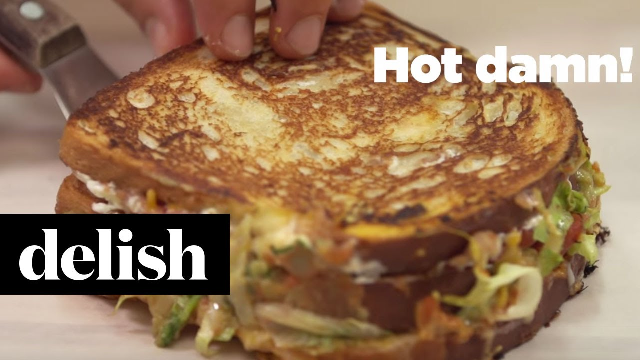 Seven Layer Dip Grilled Cheese with Brothers Green  Delish Kitchen Takover