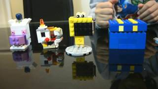 Different Lego creations (table, chair, blowgun,FNaF poster, hand unit.) made by Bg