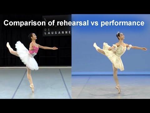 Ballet comparison: Jingyi Xu's Dulcinea variation, rehearsal and performance
