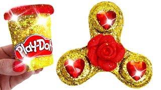 Play Doh Making Super Glitter Fidget Spinner For Disney Princess Belle