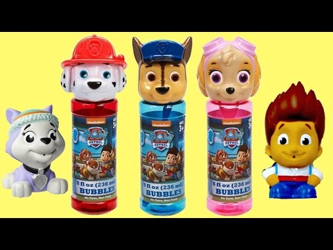 PAW PATROL BUBBLES! Bubble Maker & NEW Bath Squirters with Ryder, Everest, Robo Dog, Mashems / TUYC