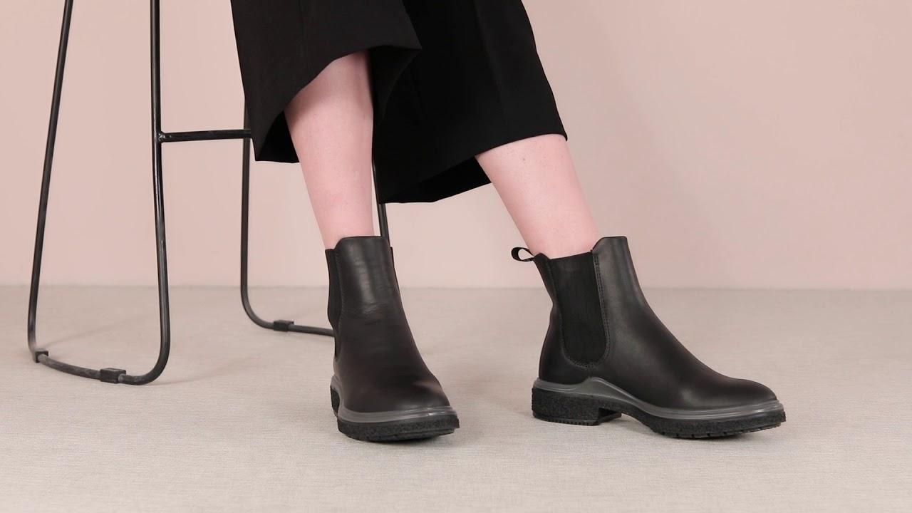 ECCO CREPETRAY HYBRID L 英倫復古切爾西靴 女 黑20084301001 - YouTube