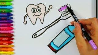 Cómo dibujar el cepillo de dientes 💧 | Página para colorear | Cómo dibujar y colorear para niños