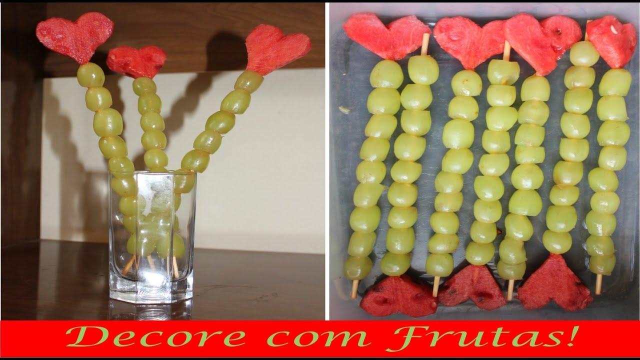 Decoraç u00e3o com frutas Festa infantil BS Tema Princesas YouTube -> Decoração De Frutas Para Mesa