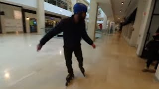 Inline Skating inside the mall