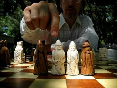 """861 new ISLE OF LEWIS CHESS MEN HAND CAST COLLECTORS/' SET gray K= 3.5/"""""""