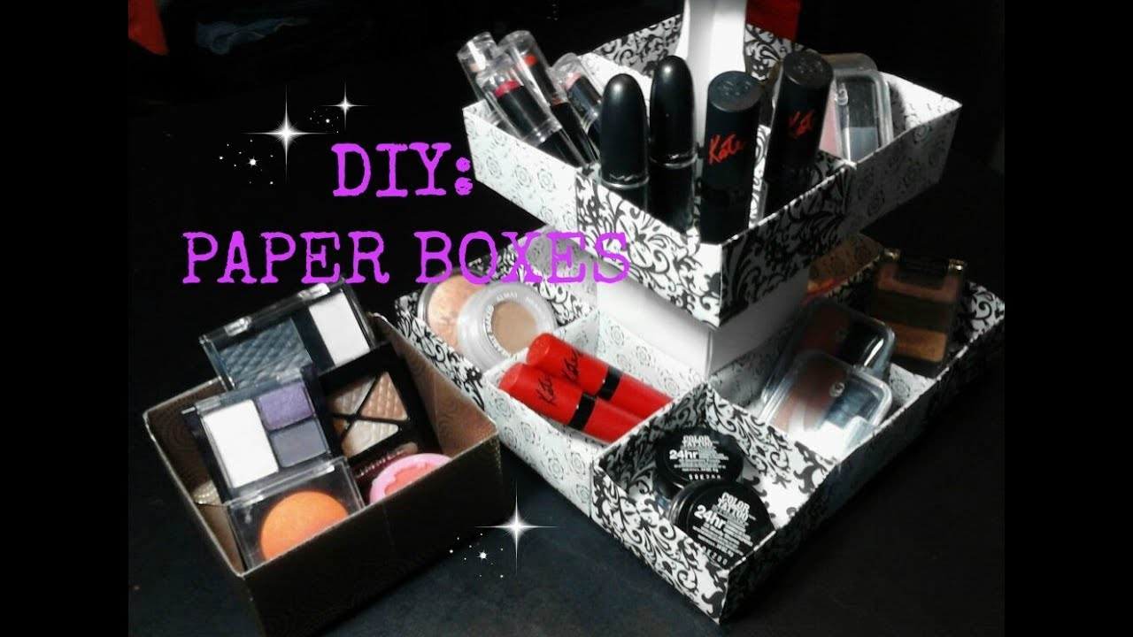 DIY: Paper Boxes for Makeup, Jewelry, Cupcakes, Ect... - YouTube