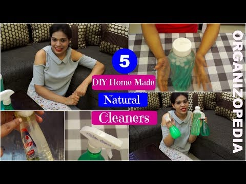 5 DIY Cleaners for Kitchen/Floor/Glass/Furniture in Hindi [with english subtitles]