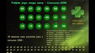 Palpite Mega Sena - Concurso 2096 - Sábado - 10/11/2018