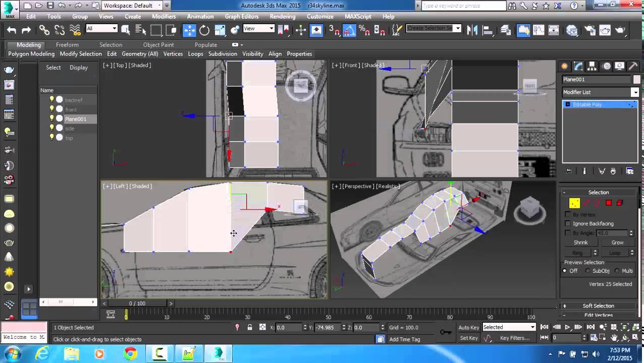 3ds Max Modeling Nissan Skyline Gtr R34 Part 3 Youtube
