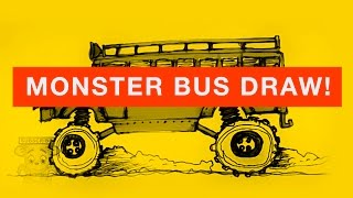 HOW TO DRAW A MONSTER SCHOOL BUS: TAKING THE OFFROAD TO SCHOOL!!