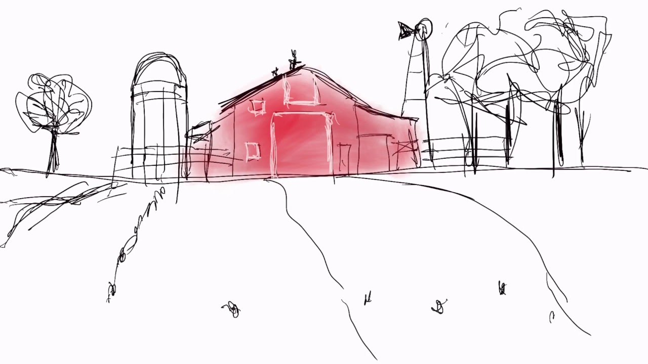 Red Barn Sketch With IPad Pro Procreate App