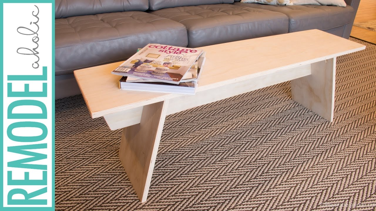 diy modern angled leg plywood bench building tutorial youtube