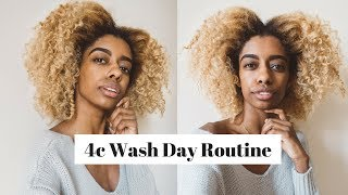 Full 4c Natural Hair Wash Day Routine  |  Pre-Treatment, Shampoo, Deep Condition and Flat Twist Out