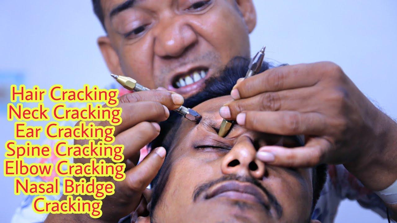 Asim Barber Hair Cracking   Neck Crack   Ear Crack   Nasal Bridge Crack   Pin-Pen Head Massage ASMR