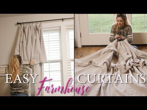 Farmhouse Decor DIY   Drop Cloth Curtains   Easy Farmhouse Look