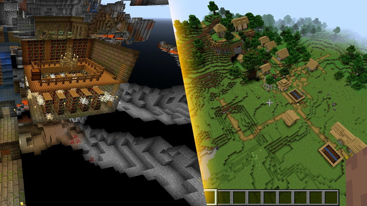 Minecraft 9.95.9 Seed 393: Stronghold spawns right under the village [JAVA]