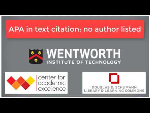 APA In Text Citation No Author Video YouTube