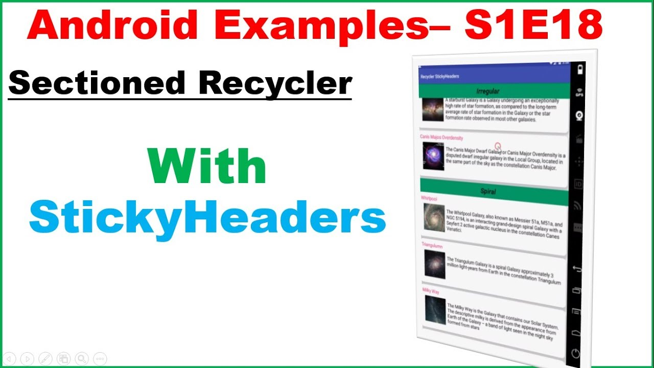 Android S1E18 : Sectioned RecyclerView with StickyHeaders