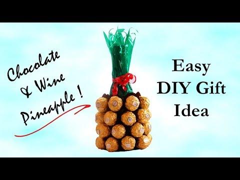 DIY Gift Idea   Wine & Chocolate Pineapple Bouquet   Valentine's Day Gift Ideas